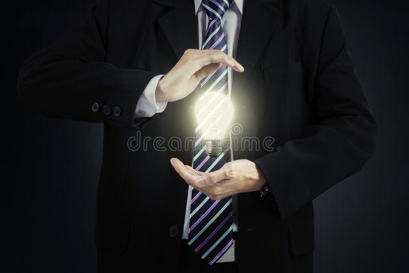 Light bulb in hand entrepreneur royalty free stock photography
