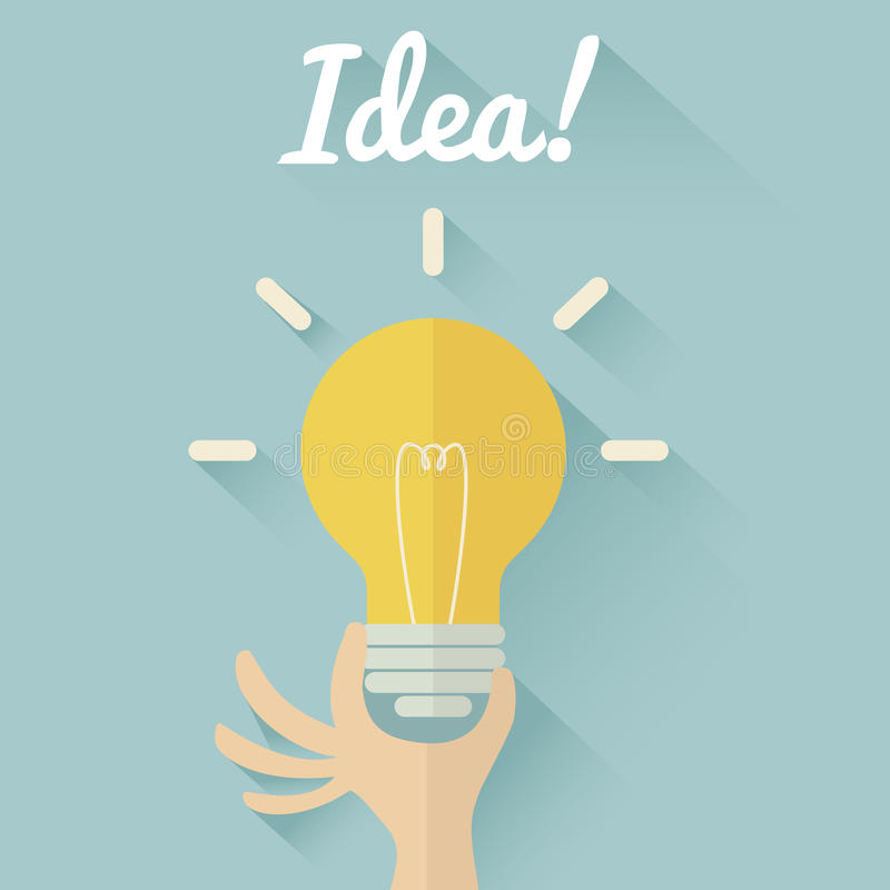 Light bulb in hand. Idea concept. Flat design royalty free stock photos
