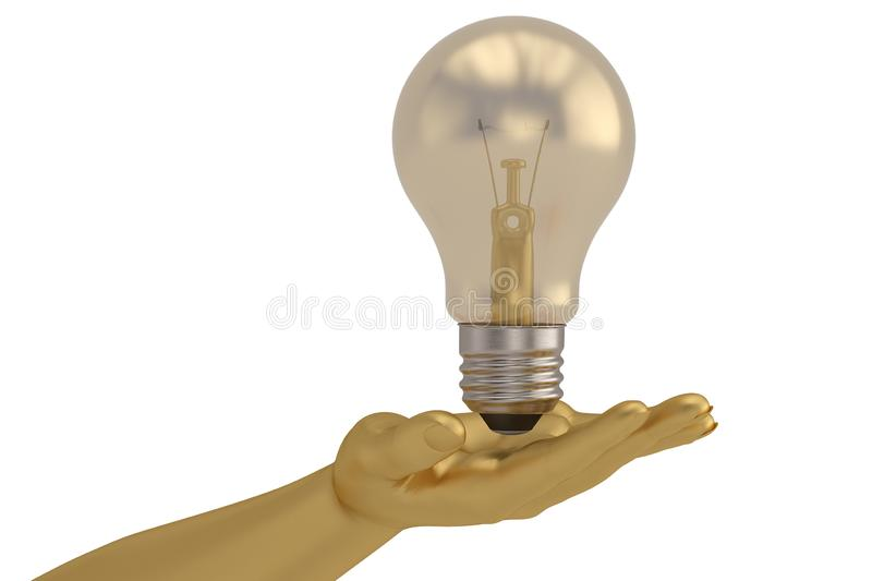 A light bulb and hands  isolated on white background 3D illustration royalty free illustration