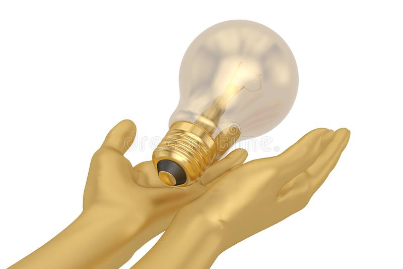 A light bulb and hands  isolated on white background 3D illustration vector illustration