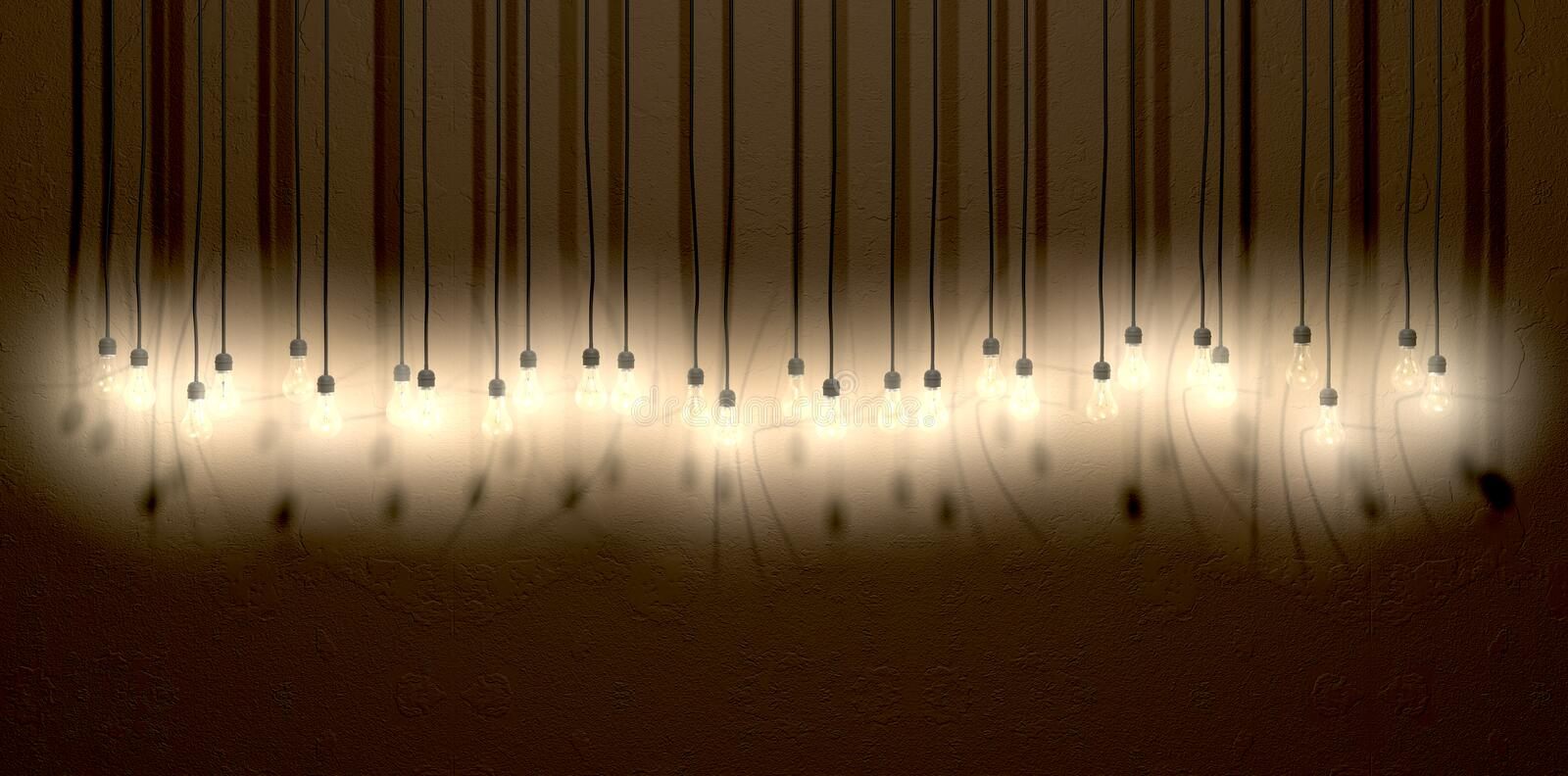 Light Bulb Hanging Wall Arrangement Front Royalty Free Stock Photography
