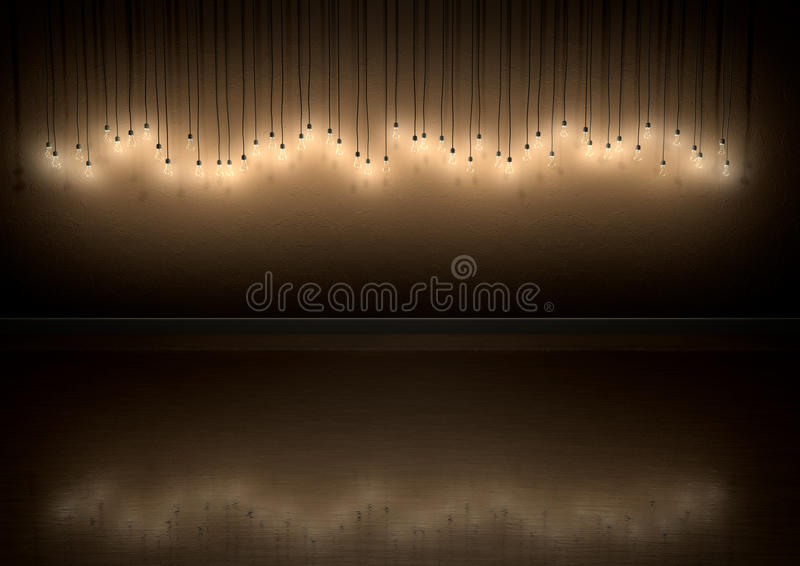 Light Bulb Hanging Wall Decoration In Room stock image