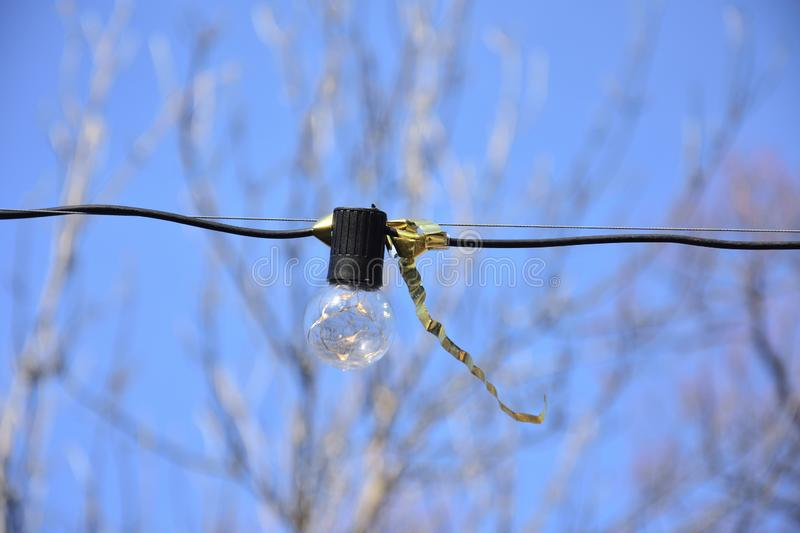 Light bulb hanging on a wire during spring festival stock image