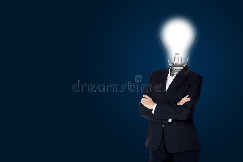 Light bulb of head business woman and have idea creativity. Creative concept stock photo
