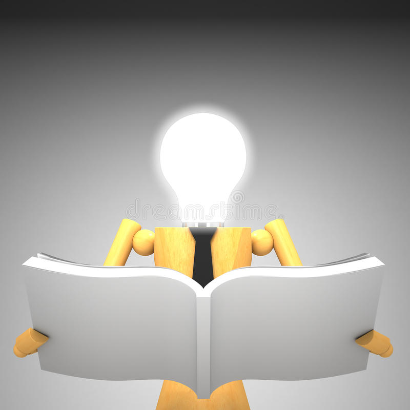 Download The Light Bulb Head Wooden Doll With Book Stock Illustration - Image: 25638942