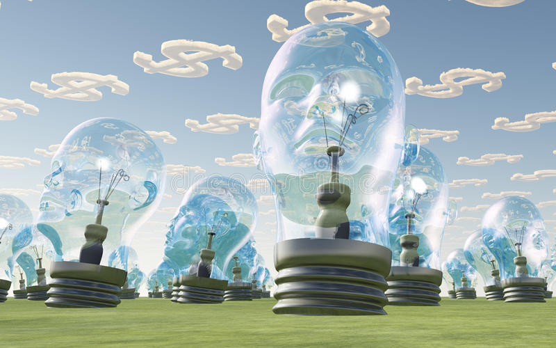 Light Bulb heads and dollar clouds royalty free illustration