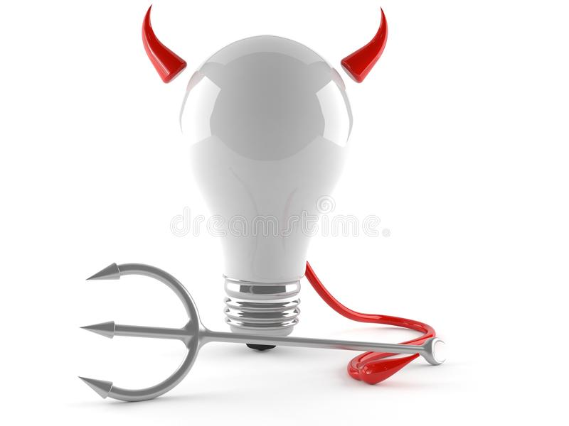 Light bulb with horns and tail. Isolated on white background royalty free illustration