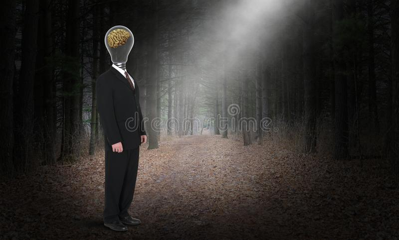Business Intelligence, Brain, Intelligent, Ideas. A light bulb with a human brain on a businessman provides an abstract concept for business intelligence, sales stock photo