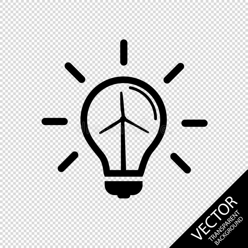 Light Bulb Icon - Concept Of Natural Energy Sources - Vector Illustration - Isolatet On Transparent Background vector illustration