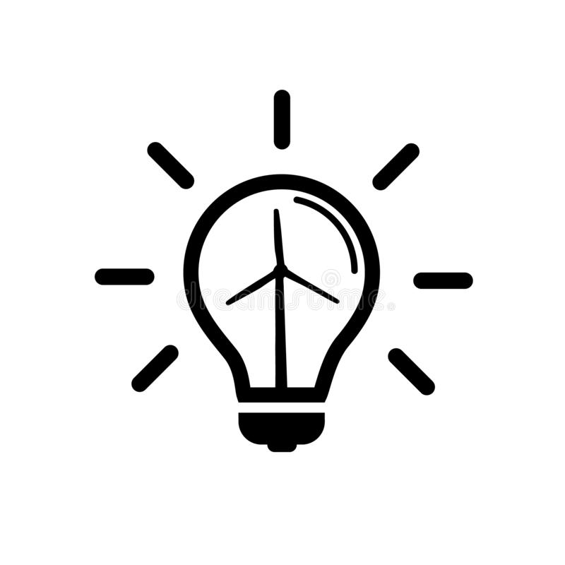 Light Bulb Icon - Concept Of Natural Energy Sources - Vector Illustration - Isolatet On White Background stock illustration