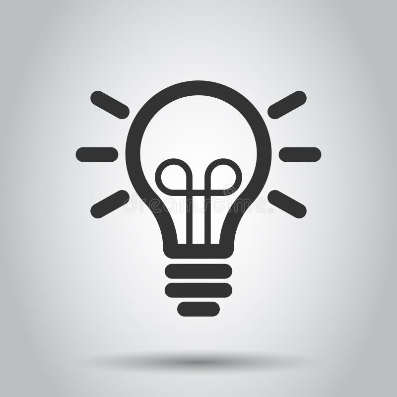 Light bulb icon in flat style. Lightbulb vector illustration on white background. Lamp idea business concept vector illustration