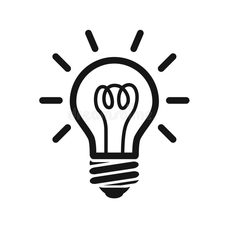Light bulb icon flat style. Light bulb icon sign symbol for web site and app design. Light bulb icon flat style isolated on background. Light bulb icon sign royalty free illustration