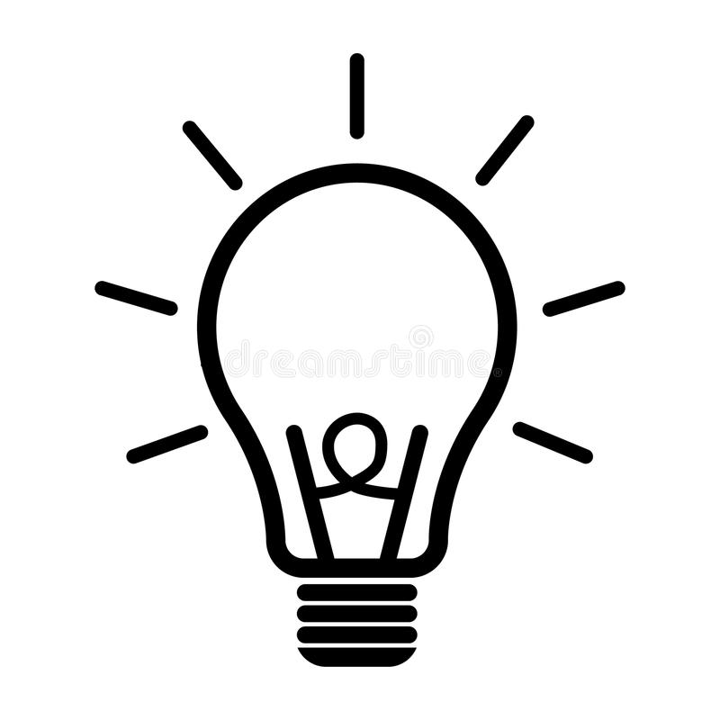 Light bulb icon. Idea flat vector illustration. Icons for design, background, website. royalty free illustration