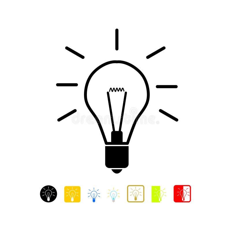 Light bulb icon. Isolated on white background stock illustration