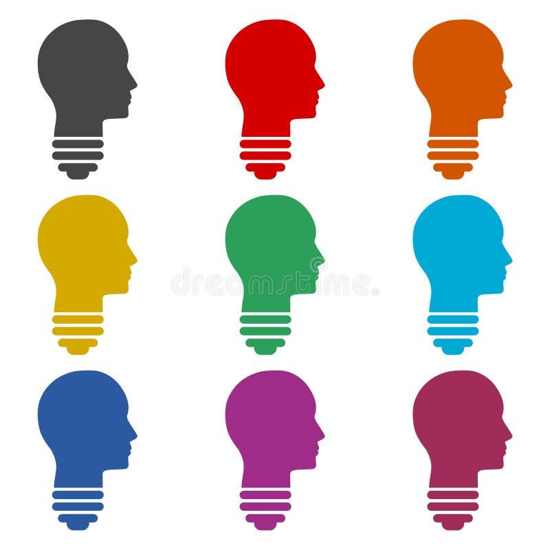 Light bulb icon or logo, human head, color set stock illustration