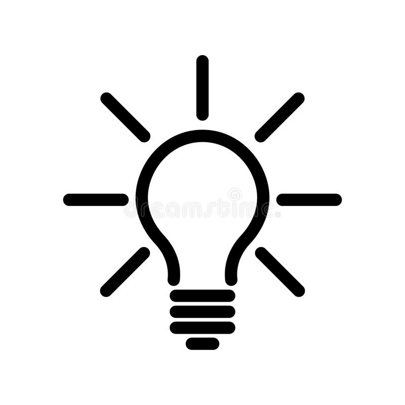 Light bulb icon. Simple black line symbol on white background. Light, idea or thinking koncept. Modern vector stock illustration