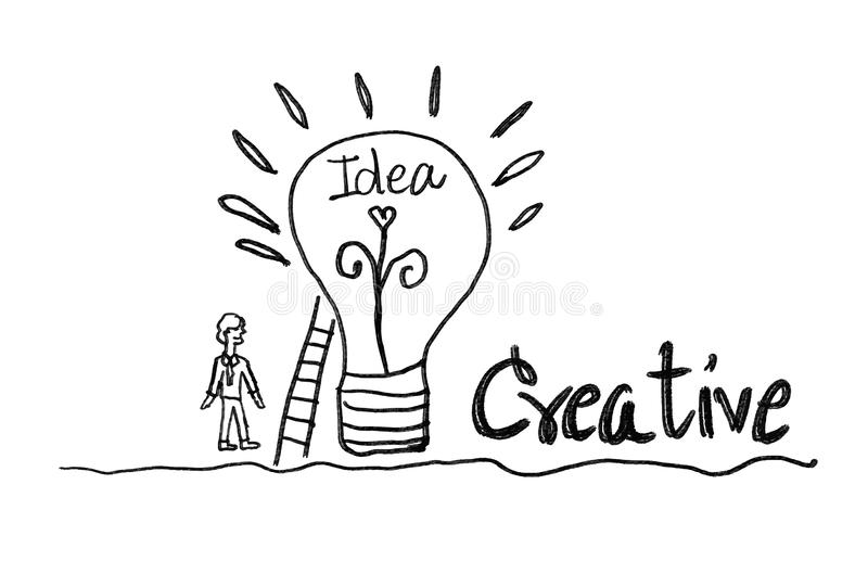 light bulb icon with business man vector illustration. creative idea concept, teamwork concept royalty free illustration