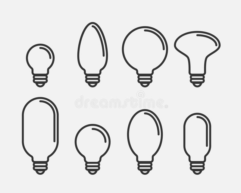 Light bulb icon vector. Llightbulb idea logo concept. Set lamps electricity icons web design element. Led lights isolated stock illustration