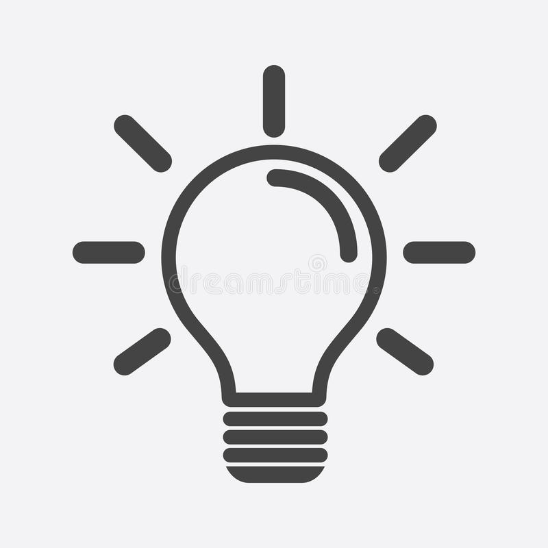 Light bulb icon in white background. Idea flat vector illustration. Icons for design, website. royalty free illustration