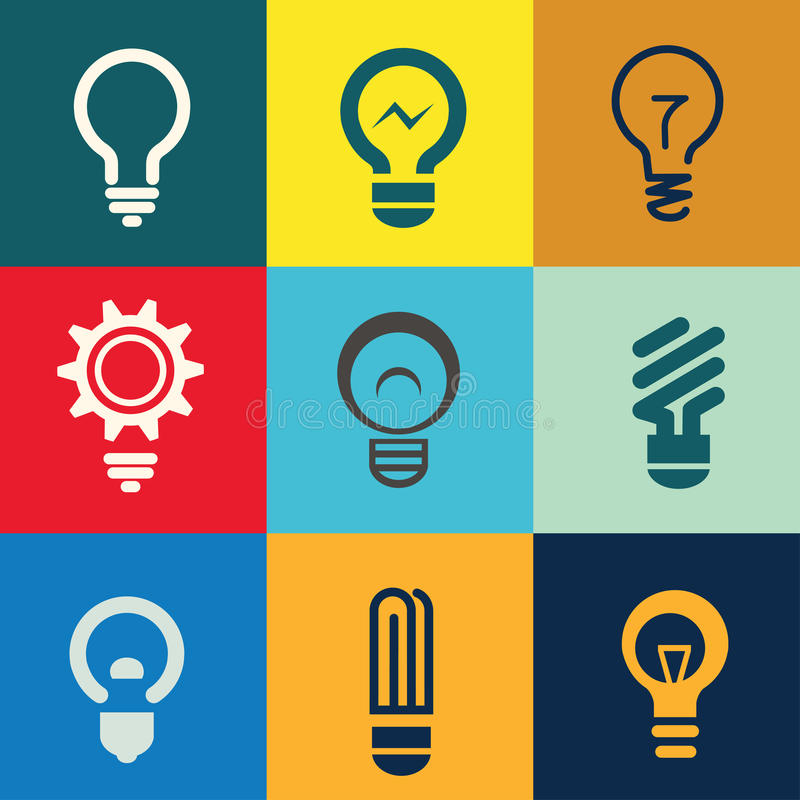 Free Light Bulb Icons Set Royalty Free Stock Images - 41184459