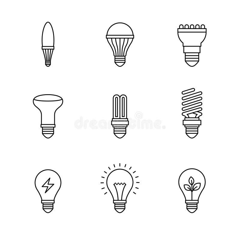 Light bulb icons thin line art set vector illustration