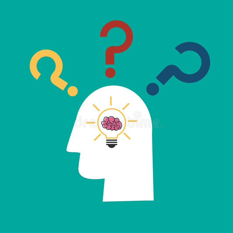 Light bulb idea with brain in human head and question mark icon royalty free illustration