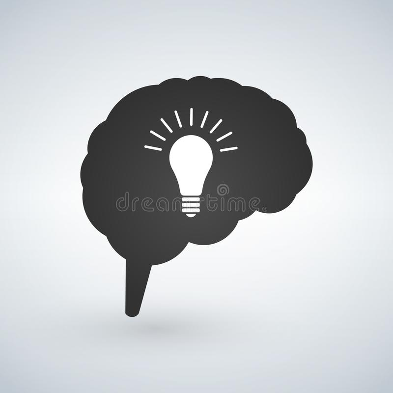 Light bulb idea with brain vector. Creative light bulb idea brain vector illustration isolated on white background. royalty free illustration
