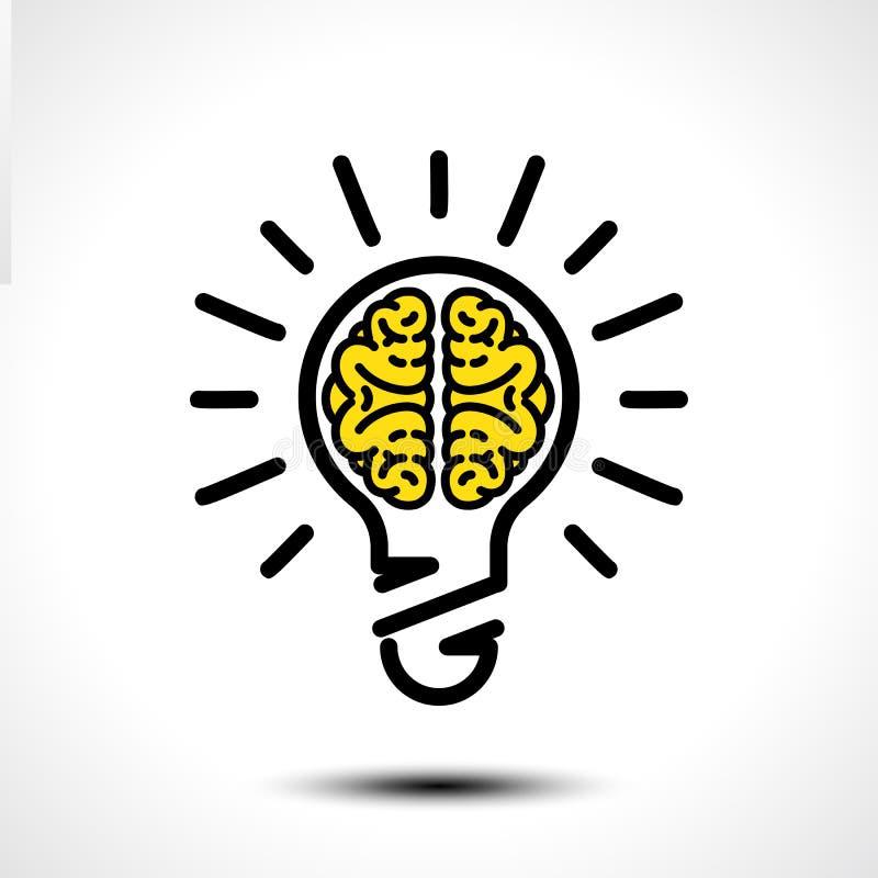 Light bulb idea with brain vector logo template. Corporate icon such as logotype. Creative light bulb idea brain vector stock illustration