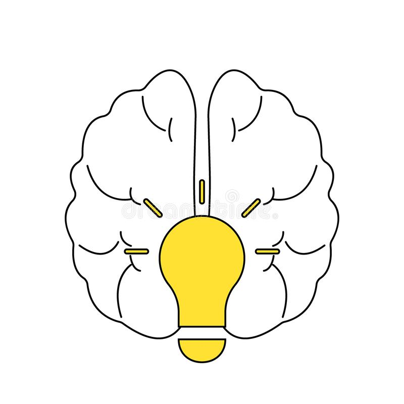 Light bulb idea with brain vector logo template. Corporate icon such as logotype. Creative light bulb idea brain vector stock illustration
