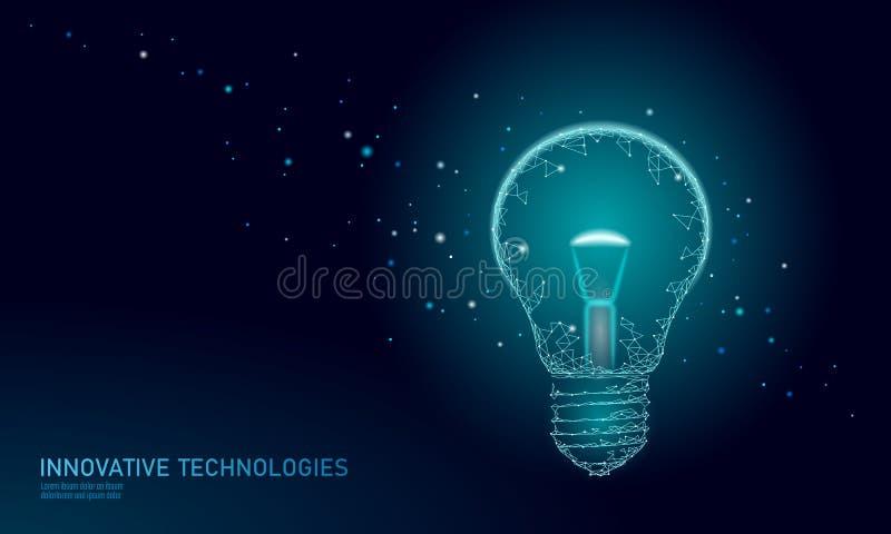 Light bulb idea business concept. Creative active human brain artificial intelligence next level man menthal abilities stock illustration