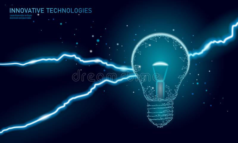 Light bulb idea business concept. Lightning thunder insight. Dangerous threat work situation. Low poly polygonal 3D. Triangle vector illustration art royalty free illustration