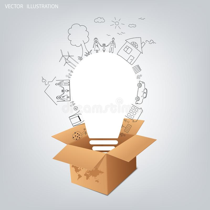 Light bulb idea, creative drawing ecological concepts. Thinking outside the box concept, Opened cardboard box with light bulb. Light bulb idea, creative drawing stock illustration