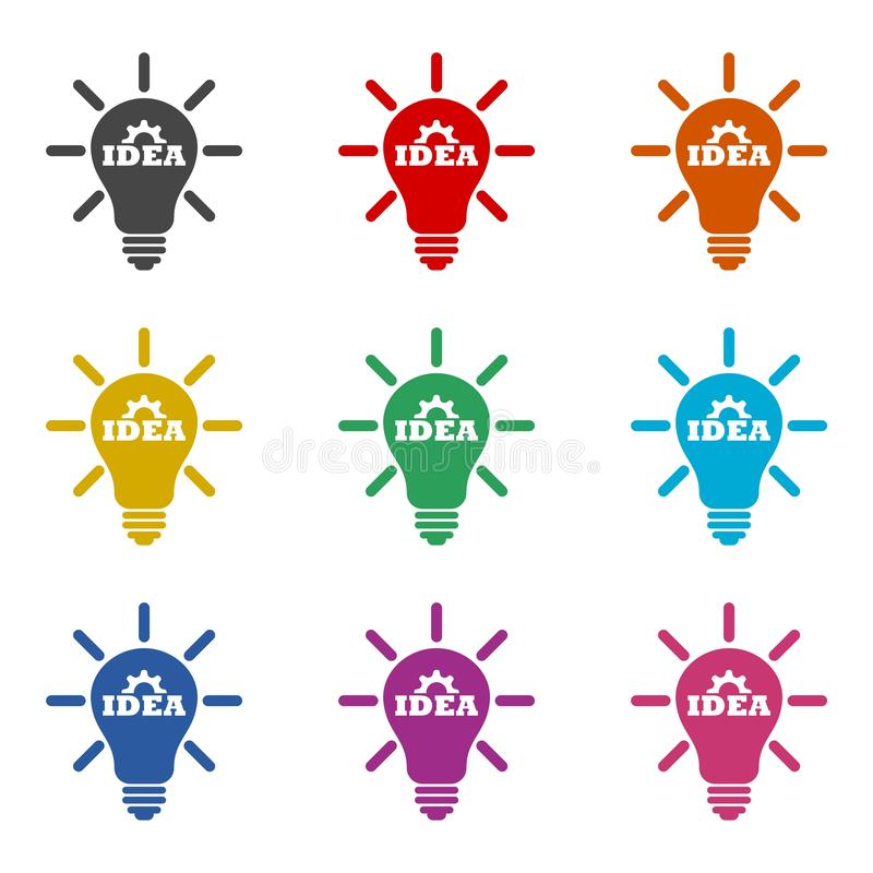 Light bulb, idea icon or logo, color set. On white vector illustration