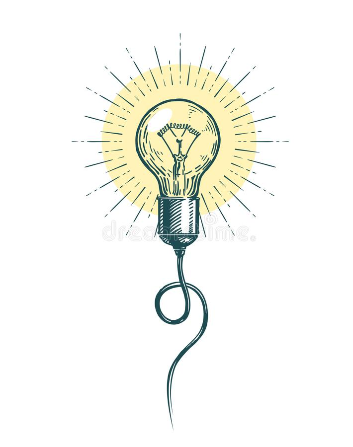 Light bulb idea. Innovation, brainstorm concept. Sketch vector illustration royalty free illustration