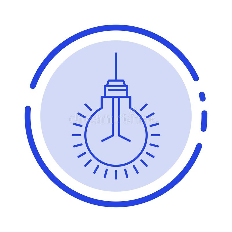 Light, Bulb, Idea, Tips, Suggestion Blue Dotted Line Line Icon vector illustration
