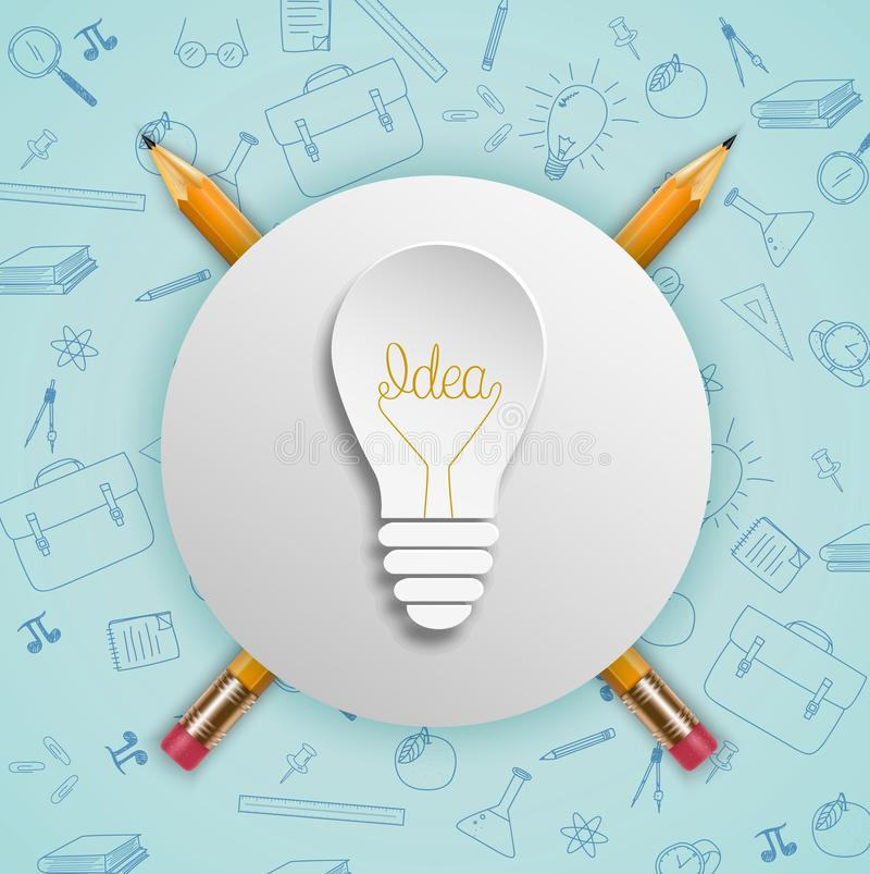 Light bulb ideas concept with doodles icons set. Illustration of Light bulb ideas concept with doodles icons set stock illustration