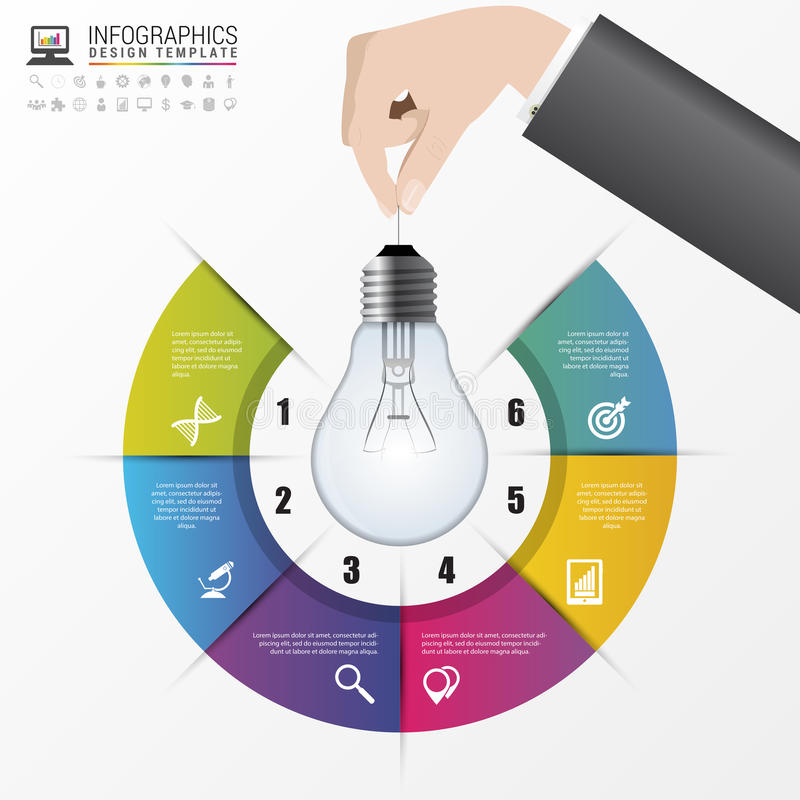 Light bulb infographic template for circle diagram vector stock download light bulb infographic template for circle diagram vector stock vector illustration of ccuart Images