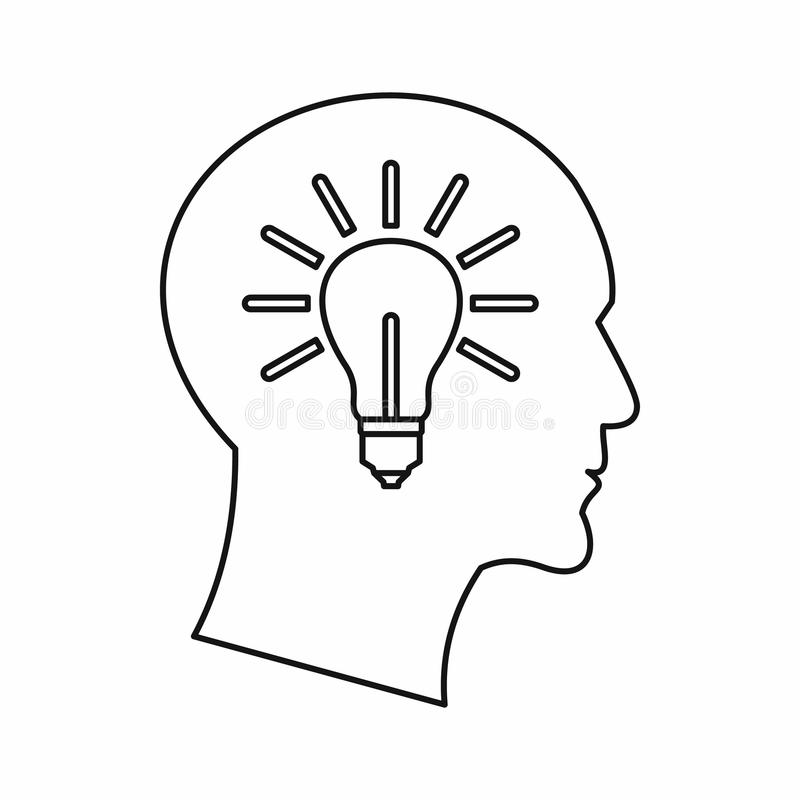 Light bulb inside a head icon, outline style. Light bulb inside a head icon in outline style on a white background vector illustration royalty free illustration
