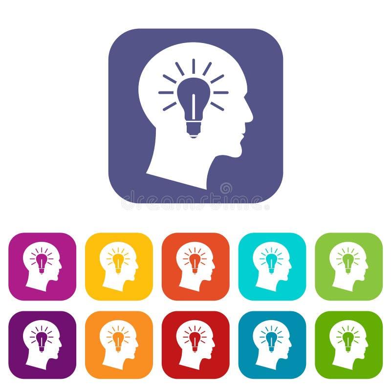 Light bulb inside head icons set vector illustration