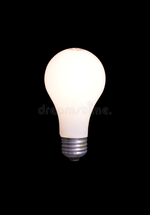 Light Bulb Isolated on Black with Clipping Path stock images