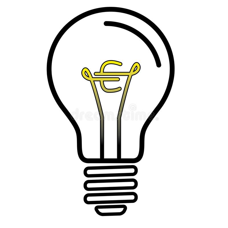 Light Bulb Lamp With Euro Currency Symbol Stock Vector ...