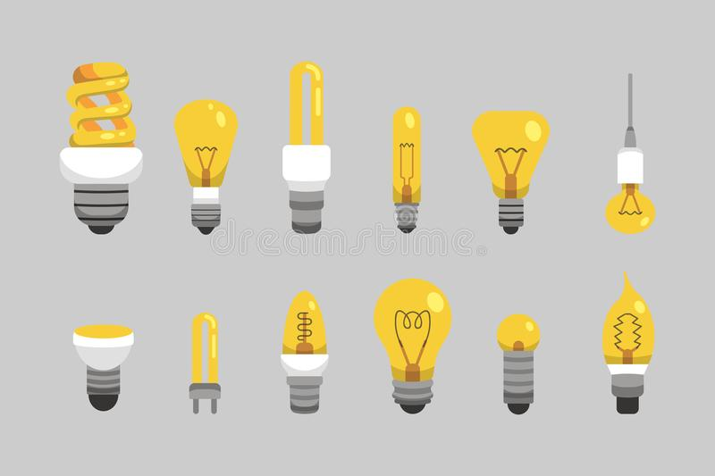 Light bulb and lamp set in cartoon style. Main electric lighting types vector. Idea illustration. stock illustration