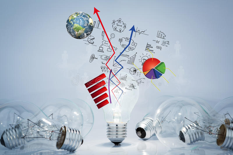 Light bulb lamps with business graph stock illustration