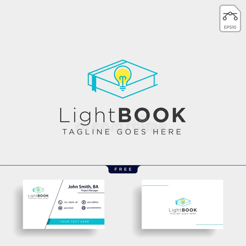Light bulb learning line logo template vector illustration icon element isolated. With business card - vector stock images