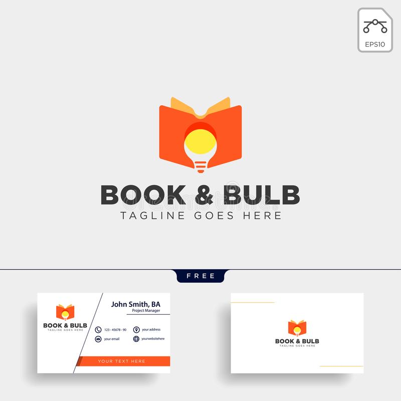 Light bulb learning line logo template vector illustration icon element isolated. With business card - vector royalty free stock photo
