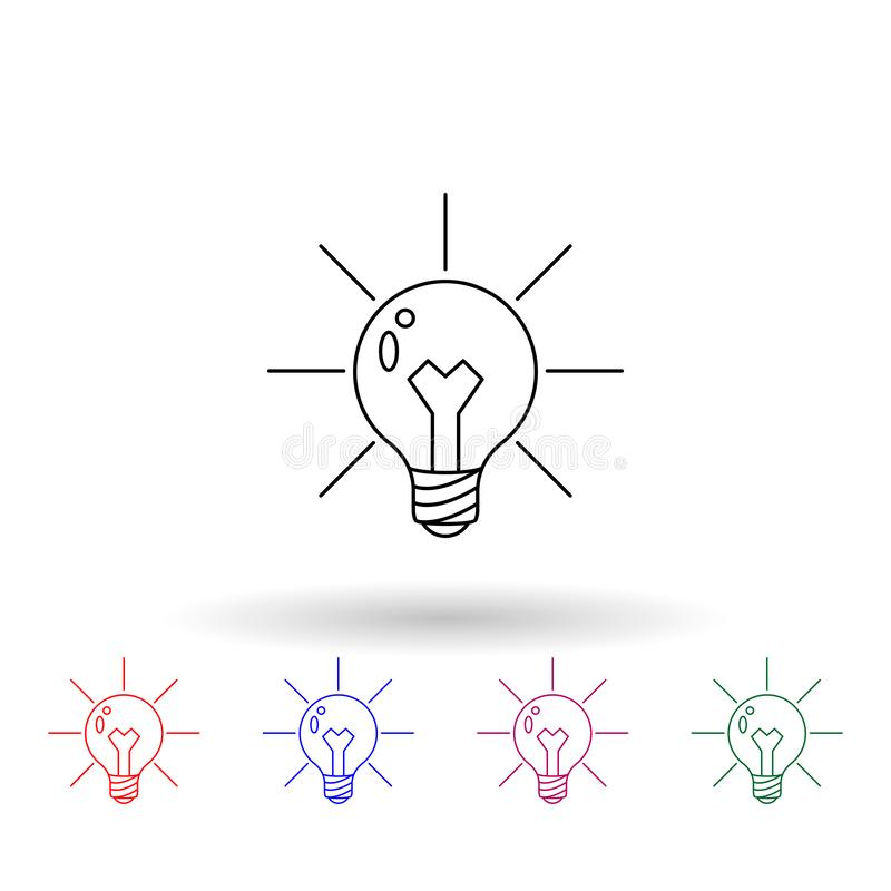 Light bulb and lighting multi color icon. Simple thin line, outline vector of idea icons for ui and ux, website or mobile vector illustration