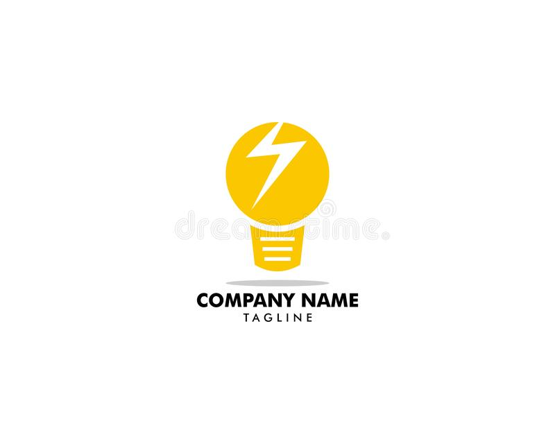 Light bulb and lightning bolt logo template, Electrical vector design, Lightbulb and flash logotype stock illustration