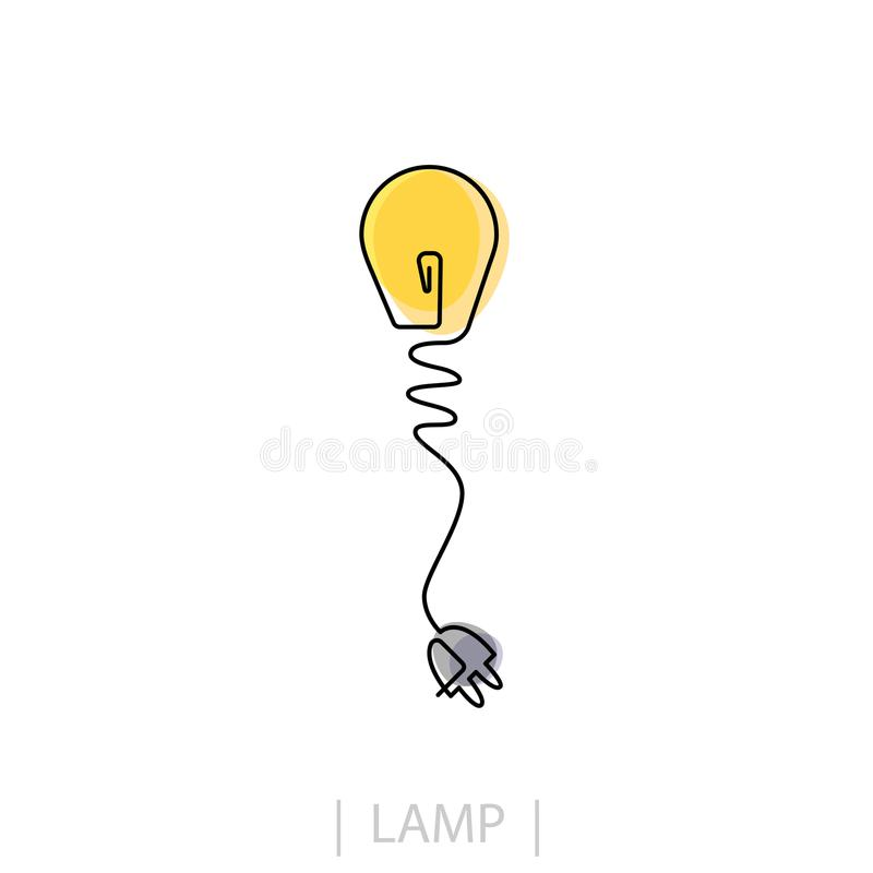 Light Bulb line icon , isolated on white background. Idea sign, solution, thinking concept. Lighting Electric lamp. Trendy F. Lat style for graphic design, Web royalty free illustration