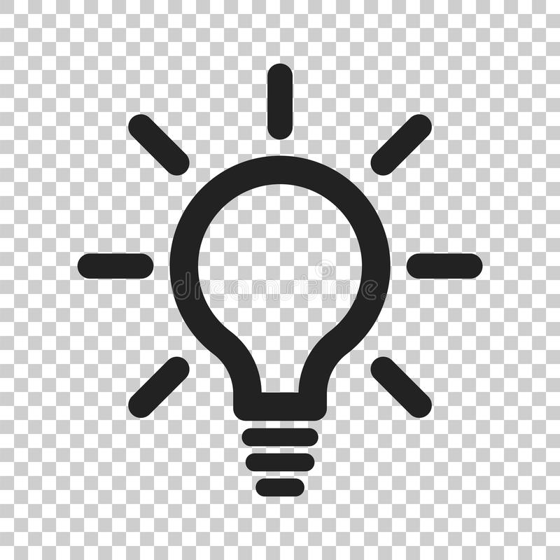 Light bulb line icon vector. Electric lamp in flat style. Idea s. Ign, solution, thinking concept royalty free illustration