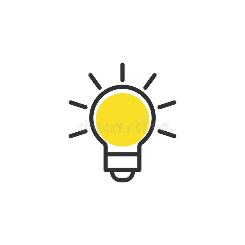Light Bulb line icon vector, isolated on white background. Idea sign, solution, thinking concept. Lighting Electric lamp. Light Bulb line icon vector, on white vector illustration